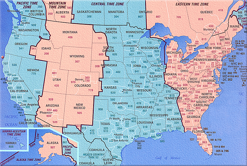 510 Us Area Code Time Zone: Us Map Time Zones Area Codes At Usa Maps